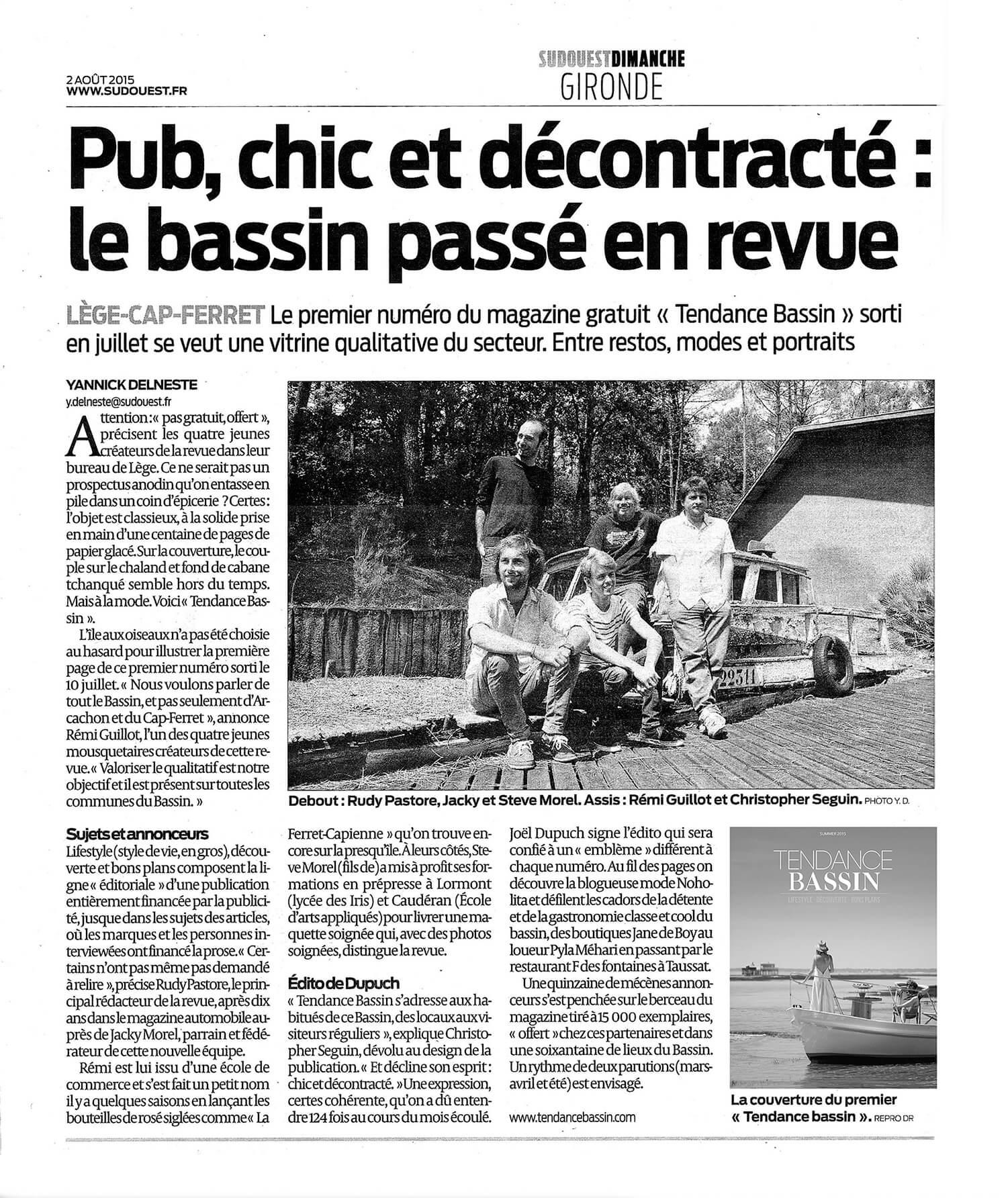 SUD OUEST DIMANCHE - Pub, chic et décontracté, le bassin passé en revue - 02/08/2015