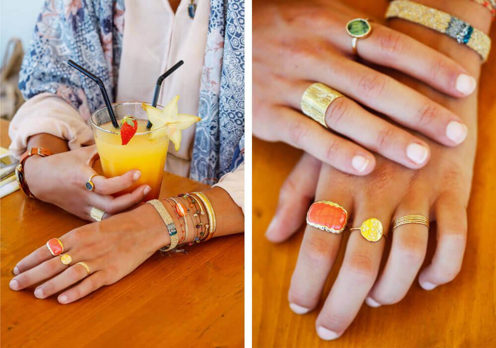 Nous les libellules zoom sur le look Boho, bagues Alexandra Margnat et accumulation de bracelets Alexandra Margnat, Sharing, Delphine Lamarque, AC.