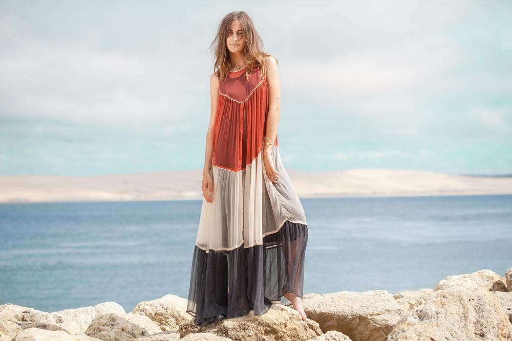 Hippie Beach Bassin Cap Ferret bohème chic boutique mode tendance vêtements femme modèle paysage eau inspiration