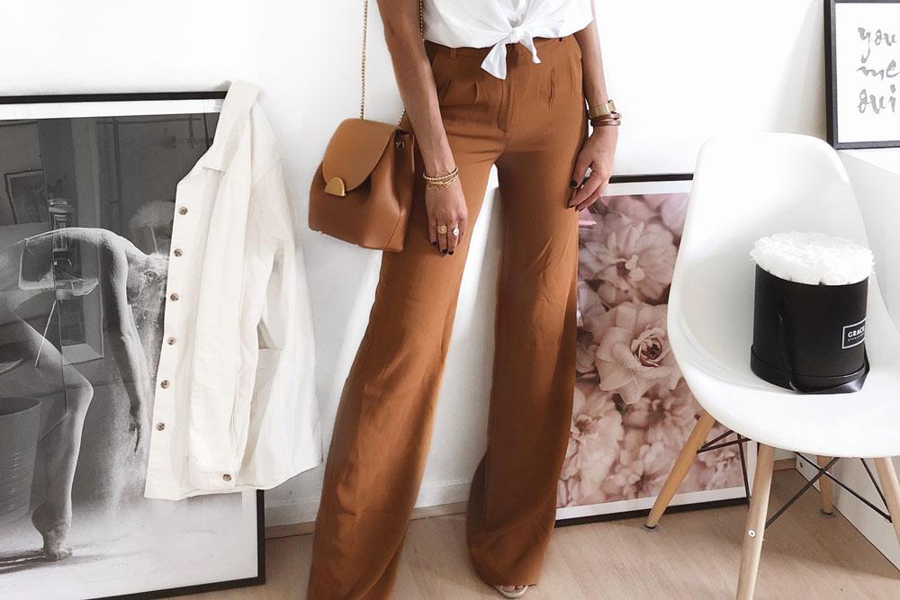 Tendances instagram mode Lilylovesfashion Cap ferret Bassin d'Arcachon Bordeaux Instagram blog lifestyle pantalon palazzo caramel