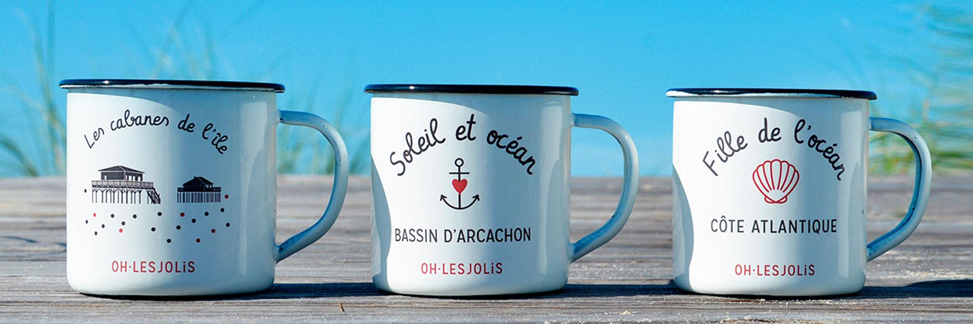Oh Les Jolis Bassin Arcachon mode décoration français souvenirs coton biologique t-shirt amis couple cadeaux environnement mugs basque plage été fun mignon beach