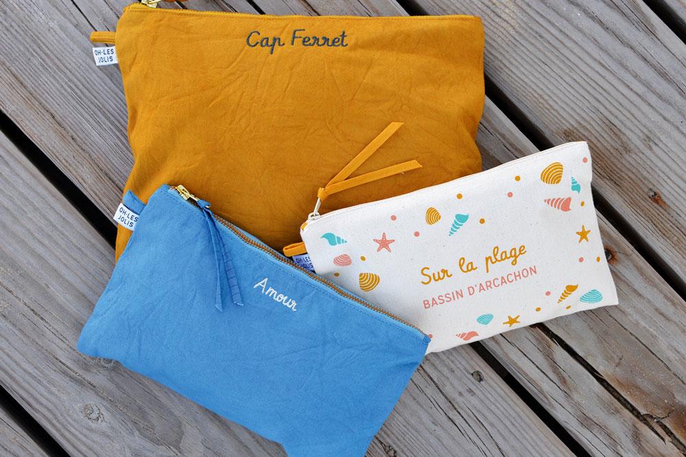 Oh Les Jolis Bassin Arcachon mode décoration français souvenirs coton biologique t-shirt amis couple cadeaux environnement pochettes sacs plage été fun mignon