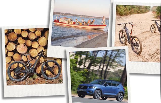 bateaux-voiture-vélos-électriques-balade-sur-chaland-bannière-tendance-bassin-activitées